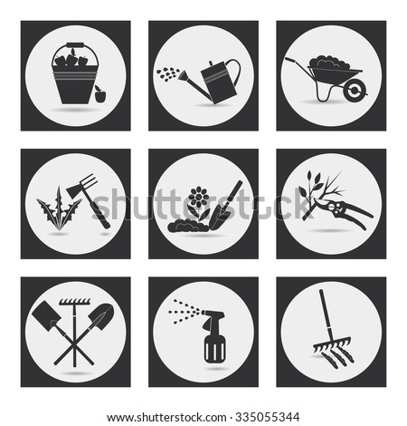 Gardening. Icons on the theme of organic farming. Symbols stages of cultivation of plants. Raster version. - stock photo