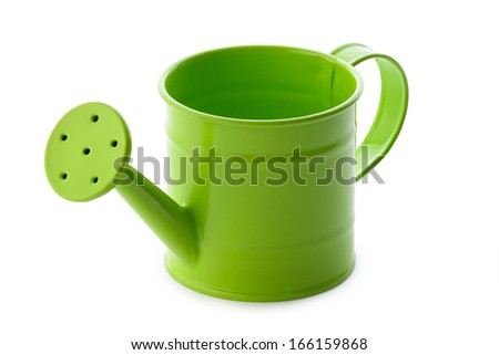 Gardening: little green watering can, isolated on white background - stock photo