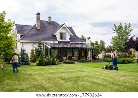 gardening of a private house - stock photo
