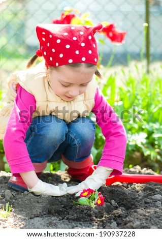 Gardening, planting - grandmother with granddaughter planting flowers into the ground - stock photo