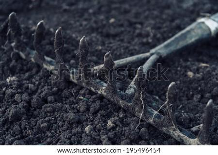 Gardening rake tool on land - stock photo