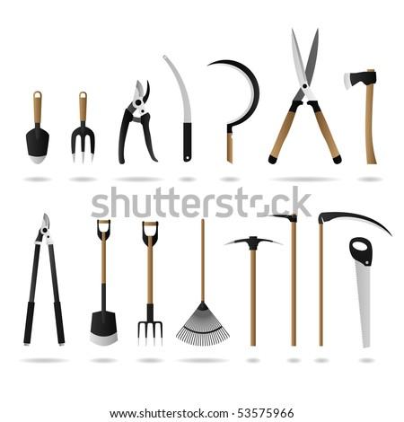 Gardening Set Tools Raster - stock photo