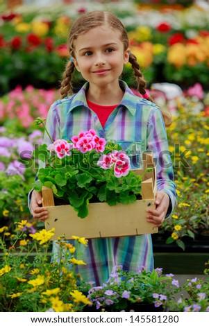 Gardening, summer flowers - beautiful girl with summer flowers in the garden center - stock photo