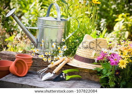 Gardening Tools Straw Hat On Grass Stock Photo 111443249