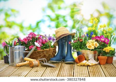 gardening tools straw hat on grass stock photo 111443249 shutterstock. Black Bedroom Furniture Sets. Home Design Ideas