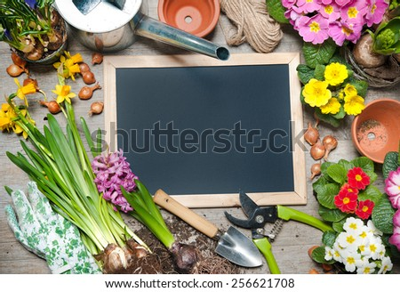 Gardening tools and flowers with a blank board for your text - stock photo