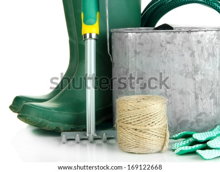 Gardening tools close up - stock photo