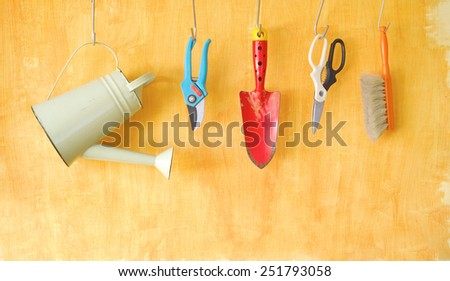gardening tools, free copy space - stock photo