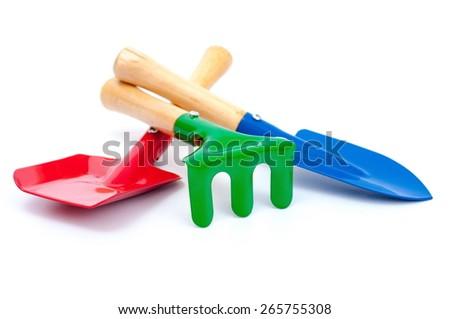 Gardening tools isolated - stock photo