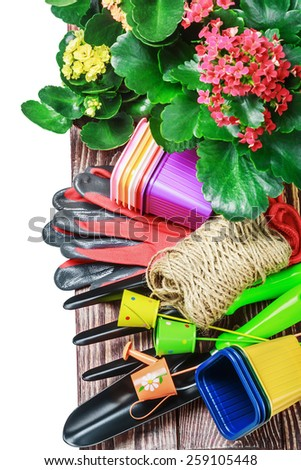 Gardening tools on a white background isolated. focus in the center of the frame - stock photo