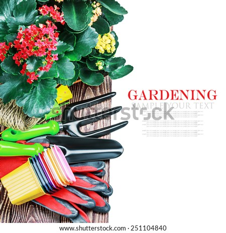Gardening tools on a white background isolated. Focus in the middle of the frame. The text serves as an example and can be easily removed - stock photo