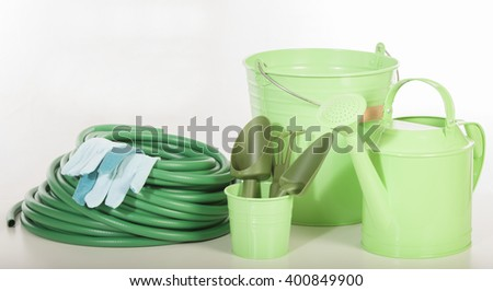 gardening tools on white background - stock photo