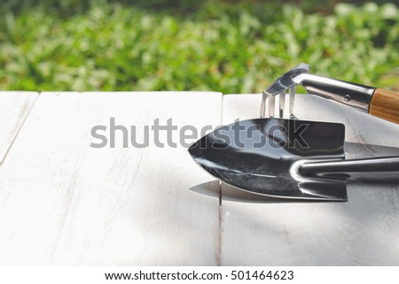 gardening tools on white wooden plank and green grass background