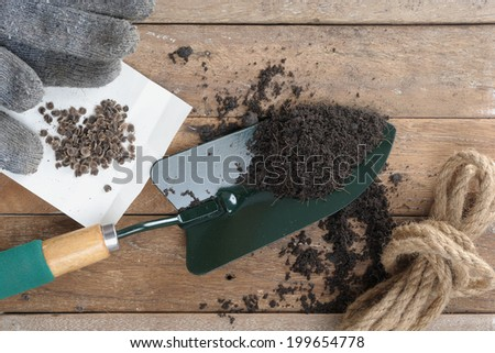 gardening tools on wooden plank - stock photo
