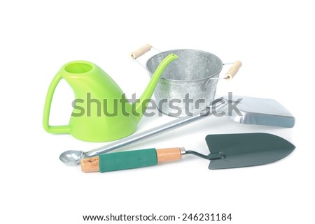 Gardening tools,Shovel,Watering and Galvanized flower bucket - stock photo