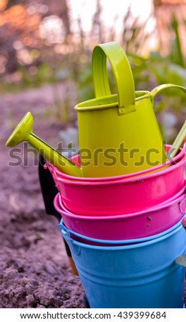 Gardening tools, watering can, seeds - stock photo