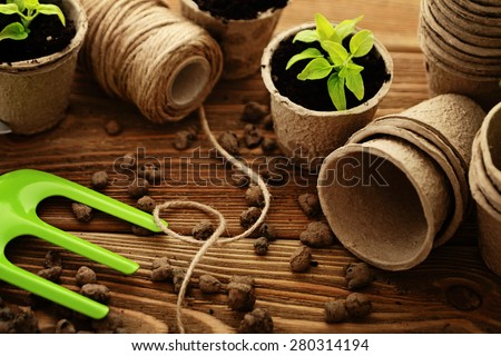 Gardening tools, watering can, seeds, plants and soil. - stock photo