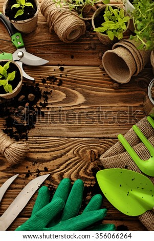Gardening tools, watering can, seeds, plants. frame background with copy space - stock photo