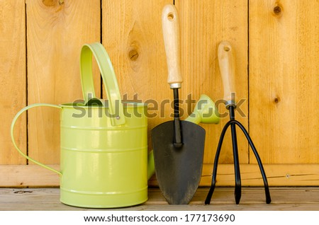 Gardening tools with watering can, trowel, and hand cultivator on wood background. - stock photo
