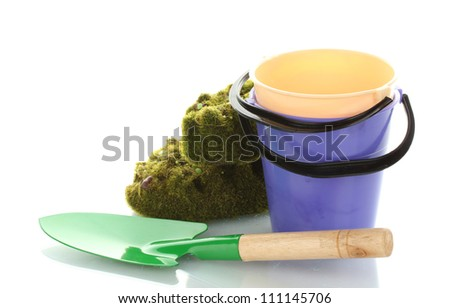 Gardening trowel, moss and buckets isolated on white