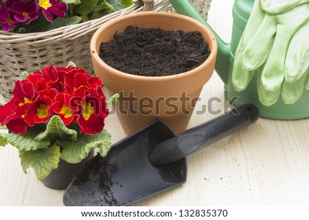 Gardening with Flower pot, Shovel, Primroses and Watering Can