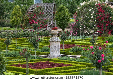 Gardens and Chateau de Villandry  in  Loire Valley in France  - stock photo
