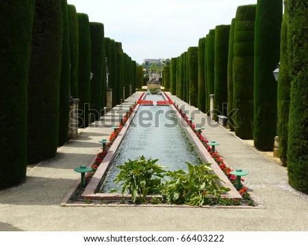 Gardens at the Alcazar de los Reyes Cristianos in Cordoba, Spain - stock photo