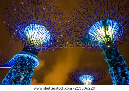 Gardens by the Bay - SuperTree Grove in Singapore at night scence - stock photo