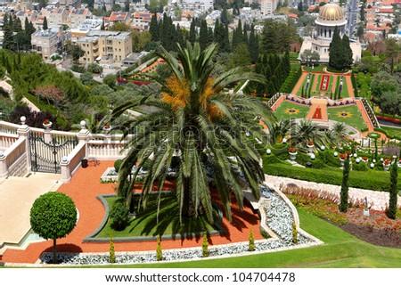 Gardens in Haifa Israel - stock photo
