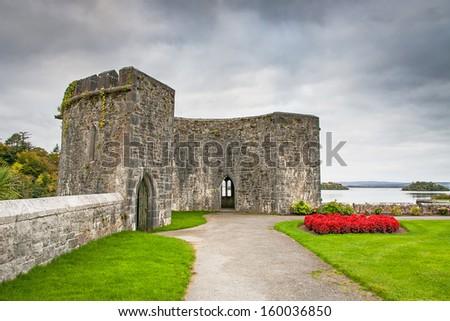 Gardens of Ashford castle in Ireland - stock photo