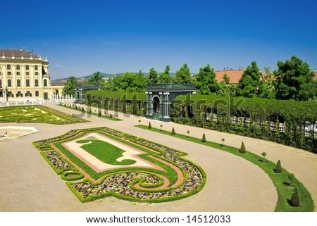 Gardens of Schonbrunn palace, Vienna, Austria - stock photo