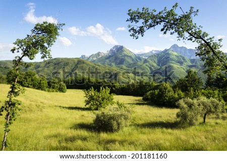 Garfagnana Region of Italy, Mountains framed by beautiful trees in the foreground, a unique perspective - stock photo