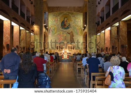 GARGANO - SEP 15: Interior of Santuario Santa Maria delle Grazie in San Giovanni Rotondo, Italy. September 15, 2013 - stock photo