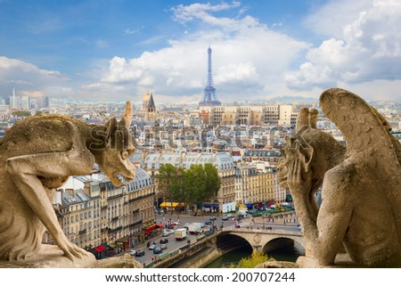 Gargoyle on Notre Dame Cathedral and city of  Paris, France - stock photo