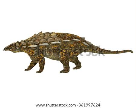 Gargoyleosaurus Side Profile - Gargoyleosaurus was an ankylosaur armored herbivorous dinosaur that lived in the Jurassic Age of Wyoming, North America. - stock photo
