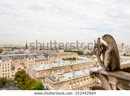 gargoyles on Notre Dame Cathedral in Paris, France