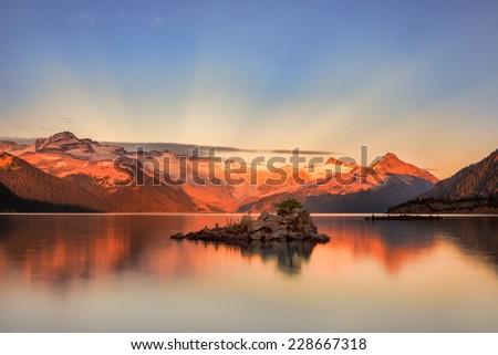 Garibaldi Lake at Sunset - stock photo