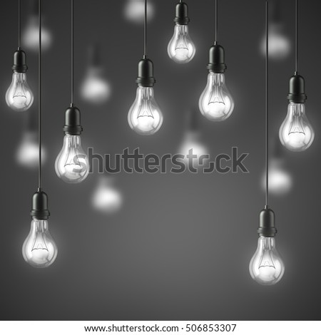 Garland of group lamp light bulbs Illuminated on grey background. 3D illustration