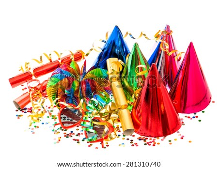 Garlands, streamer, party hats and confetti. Festive decorations and items background - stock photo