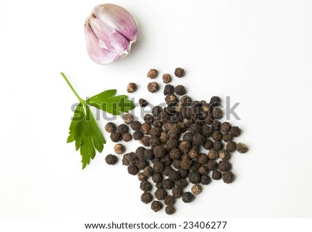 Garlic and black pepper - stock photo