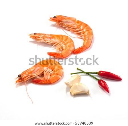 Garlic and chilli prawns - stock photo