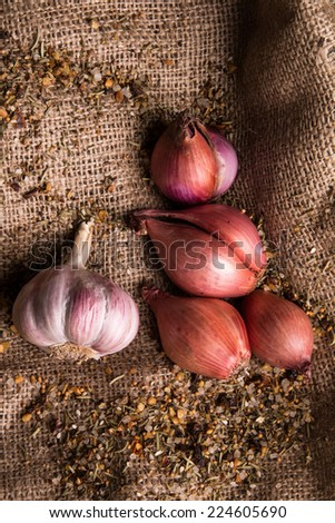 garlic and onion on table