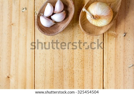 Garlic and onion on the wooden spoons - stock photo