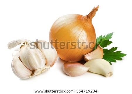 Garlic and onion with parsley leaves isolated on white - stock photo