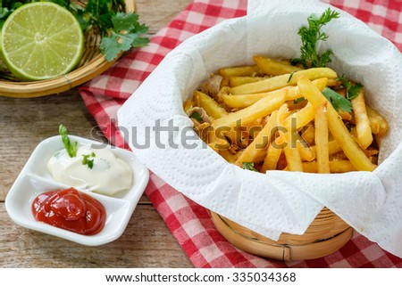 Garlic and Parsley French Fries - stock photo