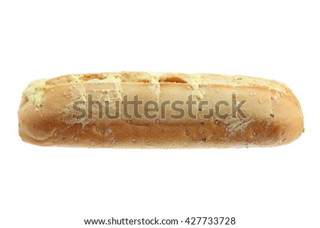 Garlic Bread on White Background - stock photo