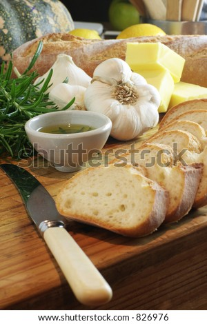 Garlic Bread portrait and sharp - stock photo