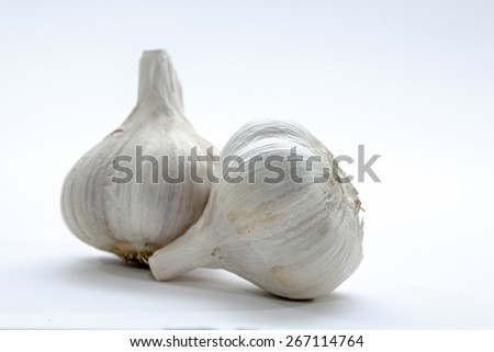 Garlic Bulb Up Close on Bright Background - stock photo