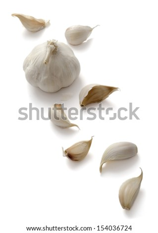 Garlic Bulbs and Cloves on a white background - stock photo