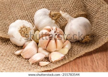 garlic bulbs and garlic cloves  - stock photo